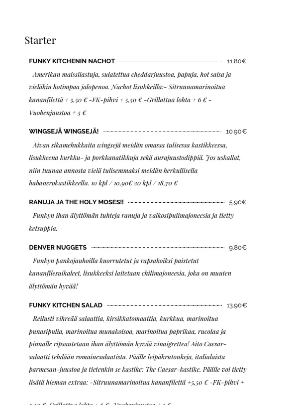 Funky Kitchen menu 2/6