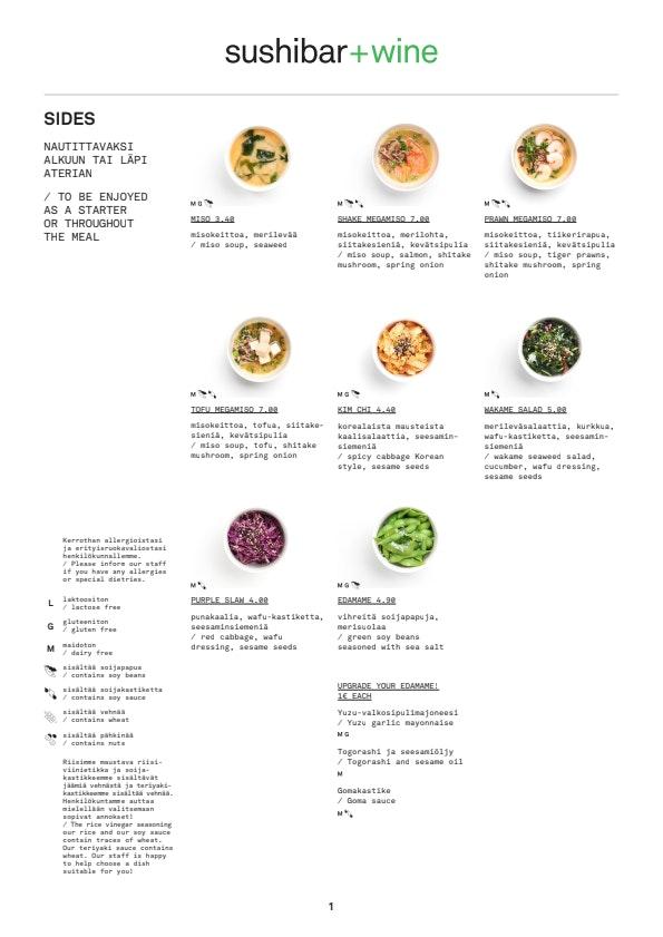 Sushibar + Wine Korjaamo menu 1/10