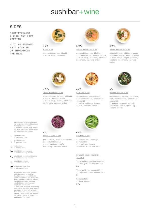 Sushibar + Wine Korjaamo menu 7/10