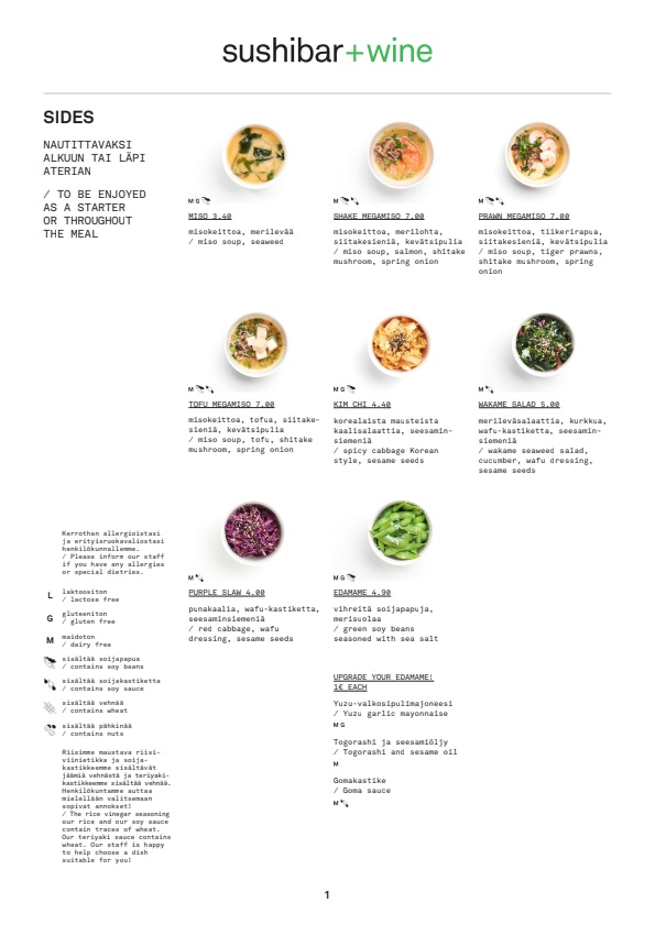 Sushibar + Wine Korjaamo menu 8/10