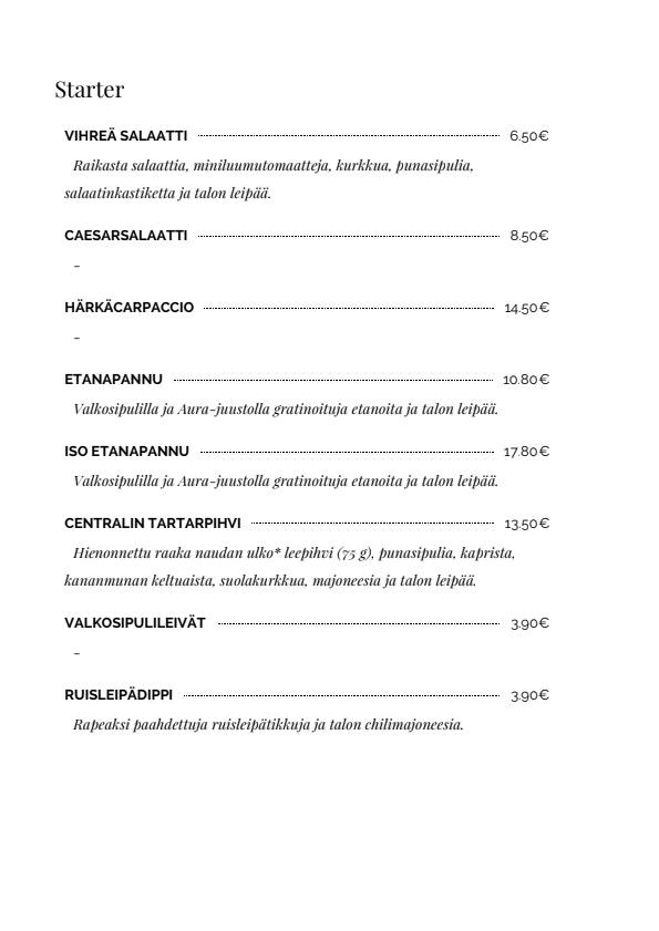 Central menu 1/7
