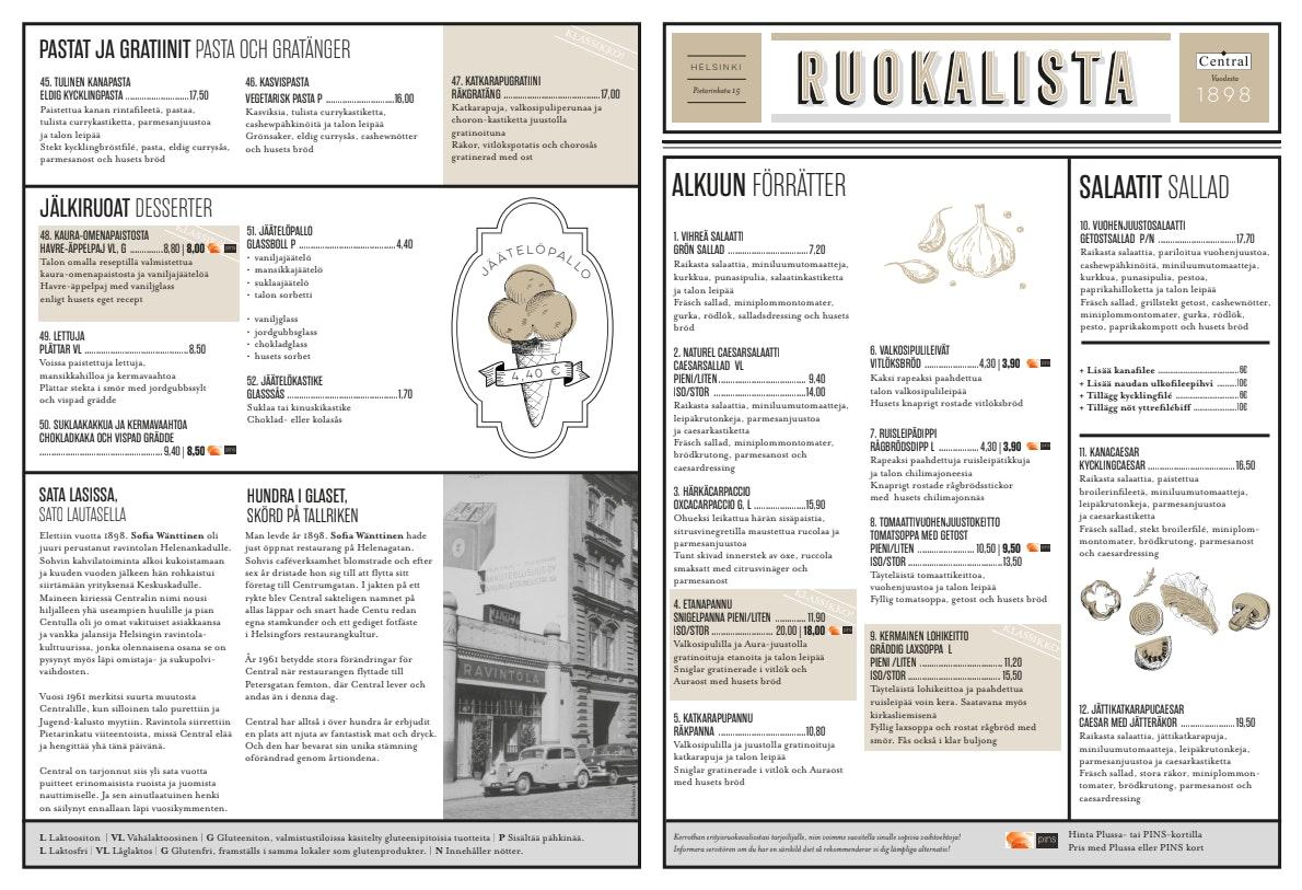 Central menu 1/2