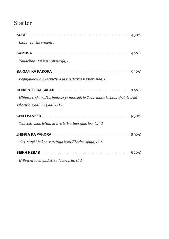 Samrat menu 3/8