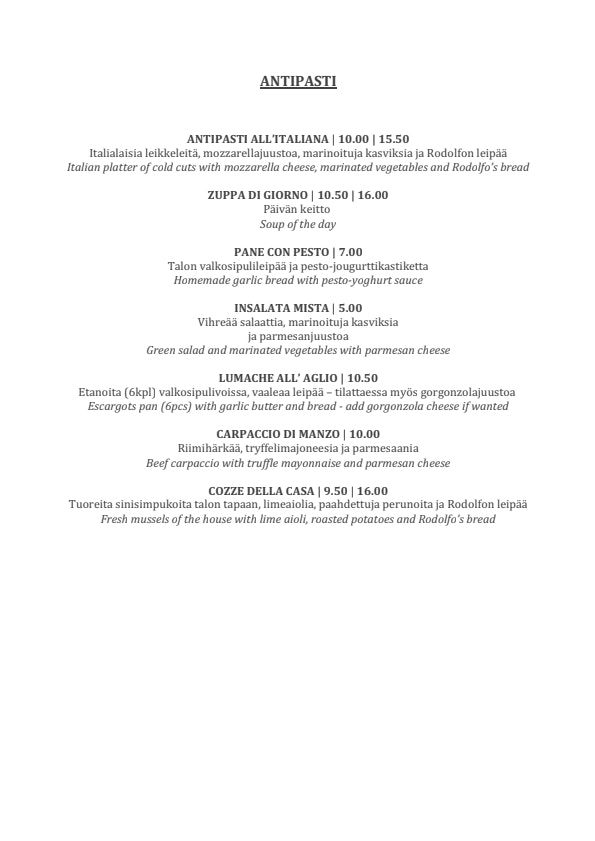 Rodolfo menu 2/7