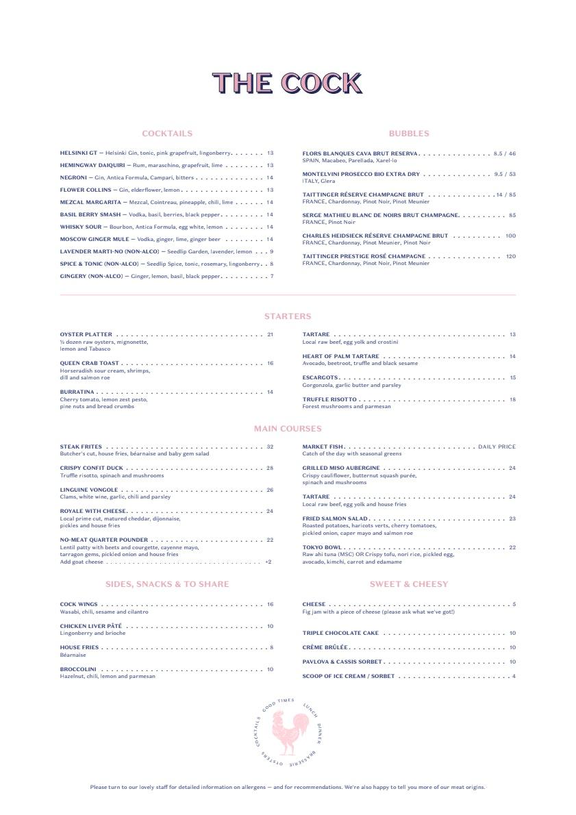 The Cock menu 2/2