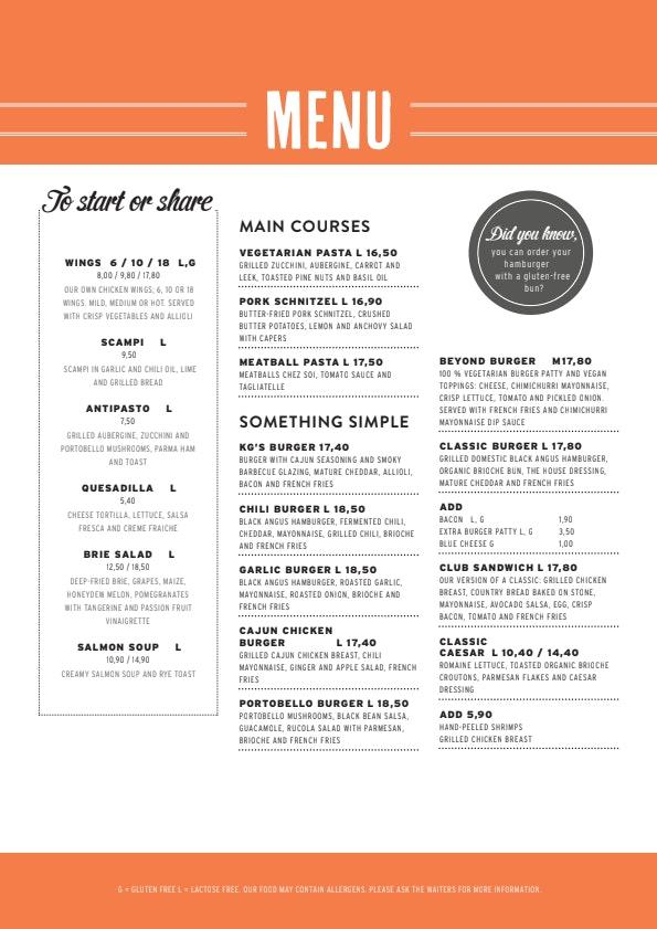 Kg Restaurant & Bar menu 1/3