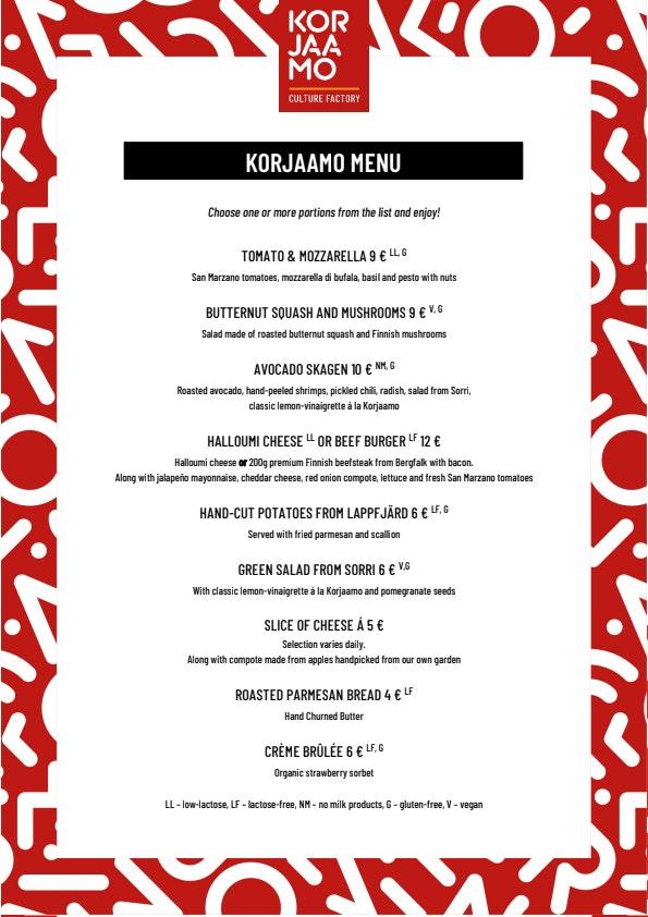 Korjaamon Baari & Keittiö menu 1/1