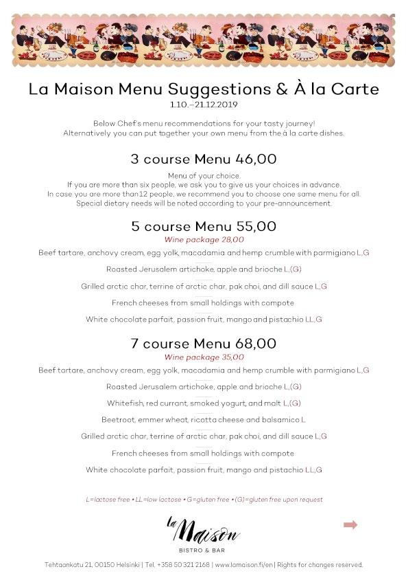 La Maison menu 2/2