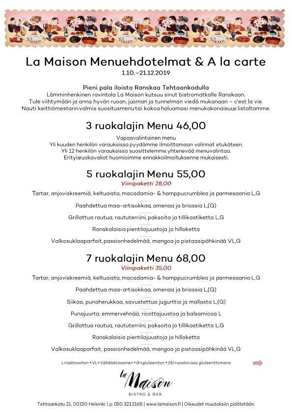 La Maison menu 1/2