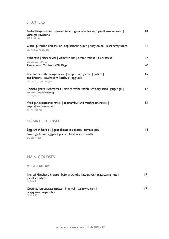 Horisont Restoran & Baar menu 1/2