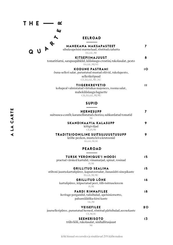 The Quarter menu 1/4
