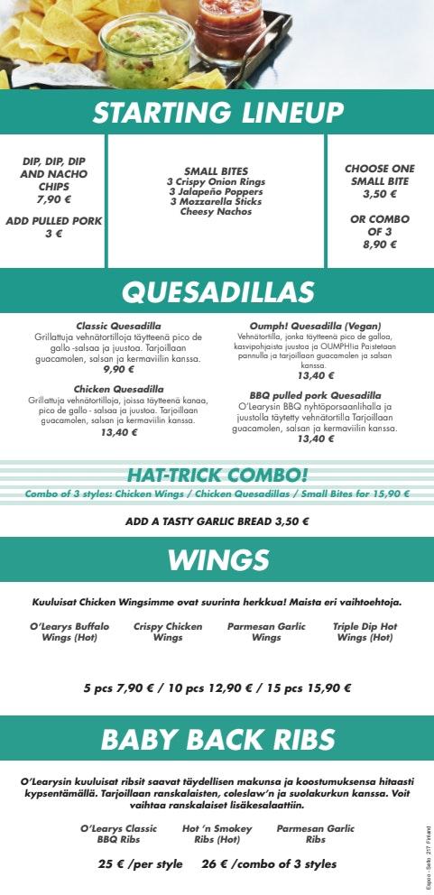 O'Learys Bakers menu 4/5