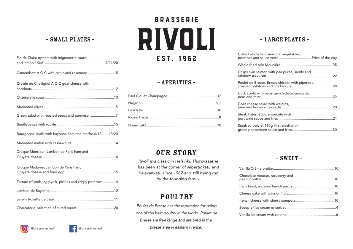 Rivoli menu 1/1