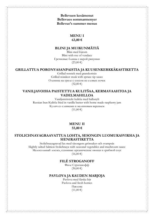 Bellevue menu 2/2