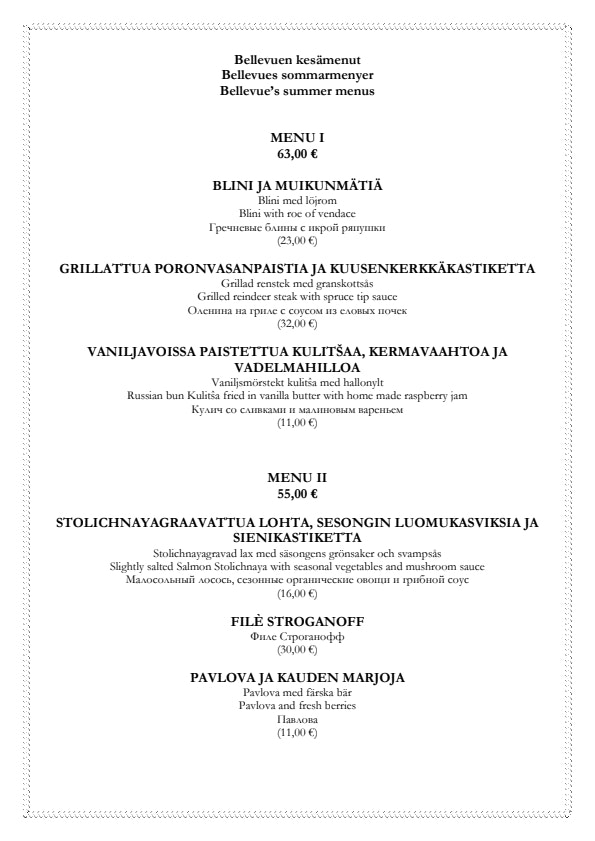 Bellevue menu 3/4