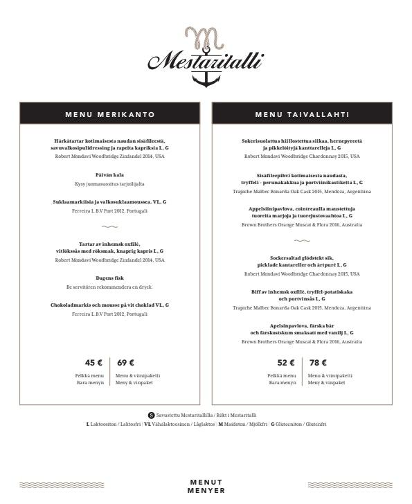 Mestaritalli menu 2/5