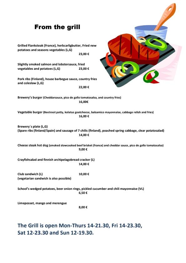 Panimoravintola Koulu menu 1/2