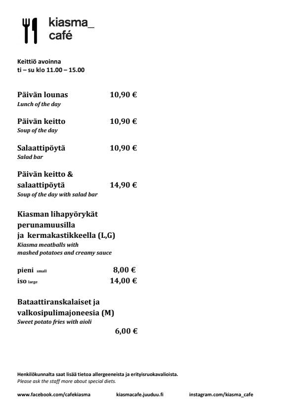 Kiasma Café menu 1/1