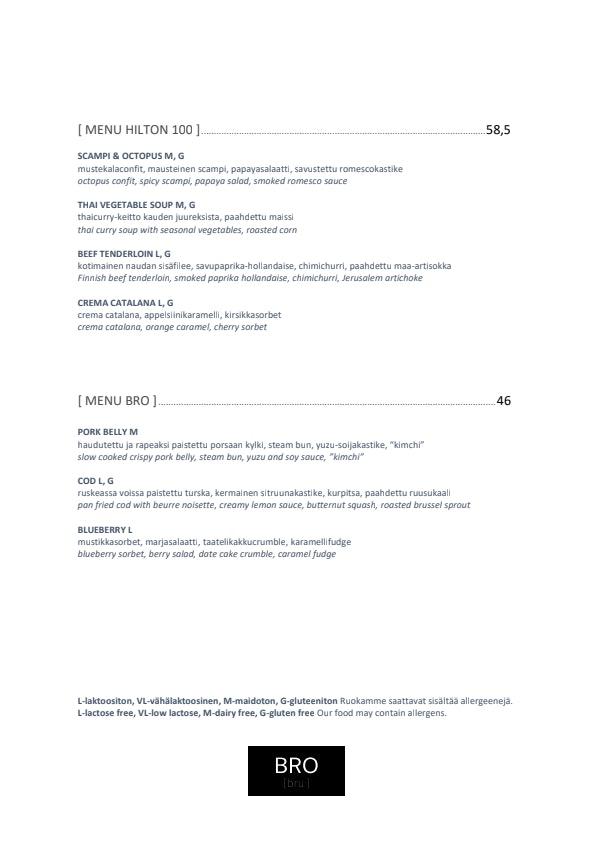 BRO menu 1/5