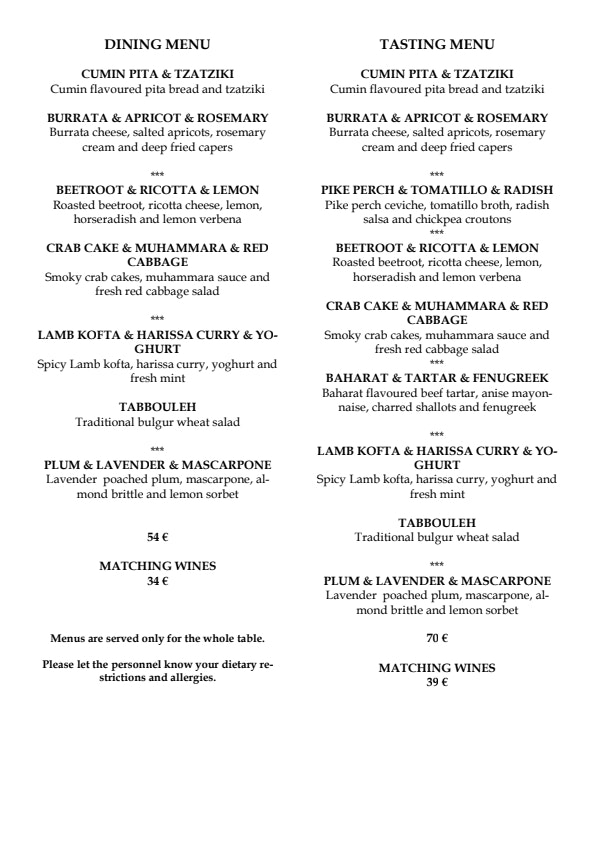 Dining 26 By Arto Rastas menu 1/4