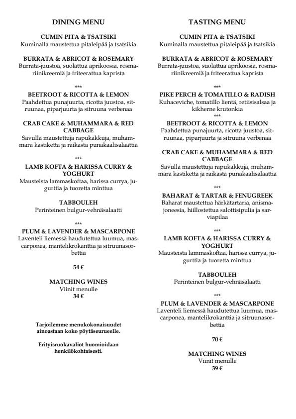 Dining 26 By Arto Rastas menu 2/4