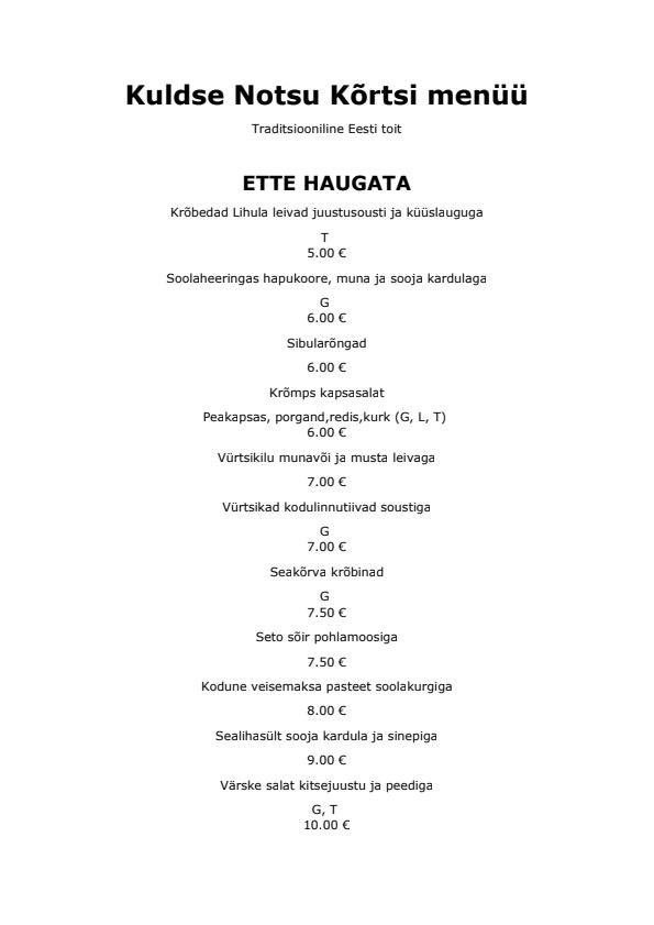 Kuldse Notsu Kõrts menu 1/4