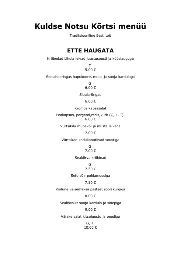 Kuldse Notsu Kõrts menu 2/4