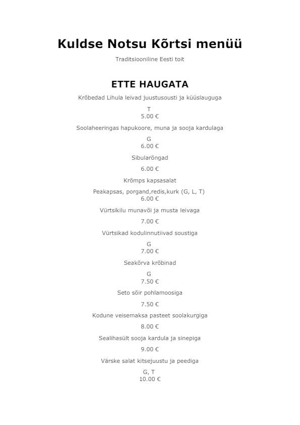 Kuldse Notsu Kõrts menu 3/4