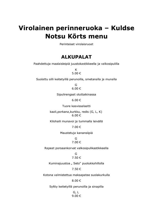 Kuldse Notsu Kõrts menu 4/4