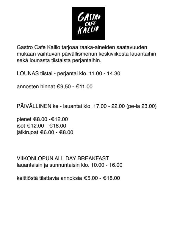 Gastro Cafe Kallio menu 1/1