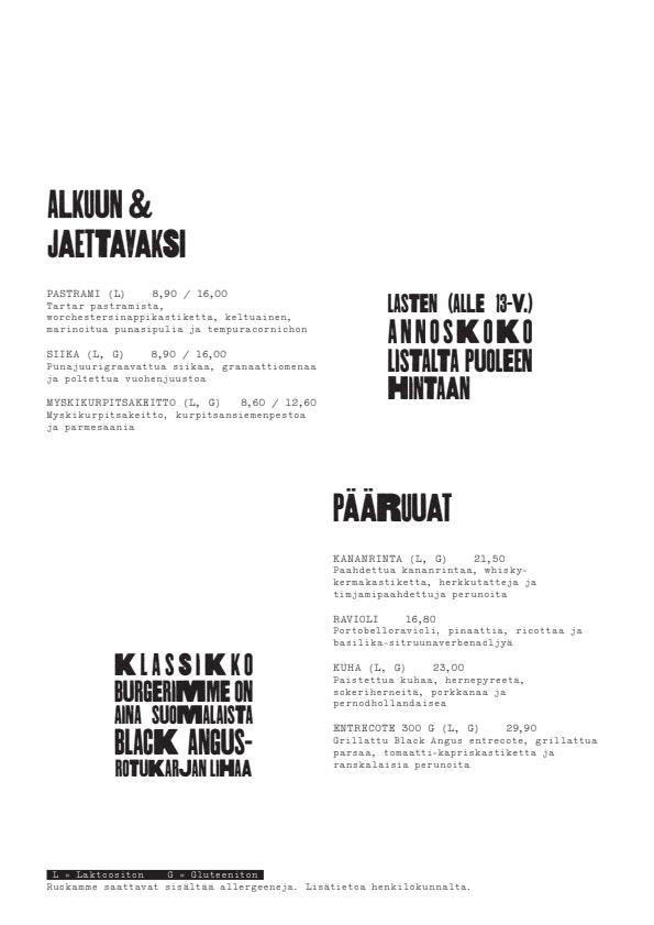 Scandic Bistro Meilahti menu 1/2