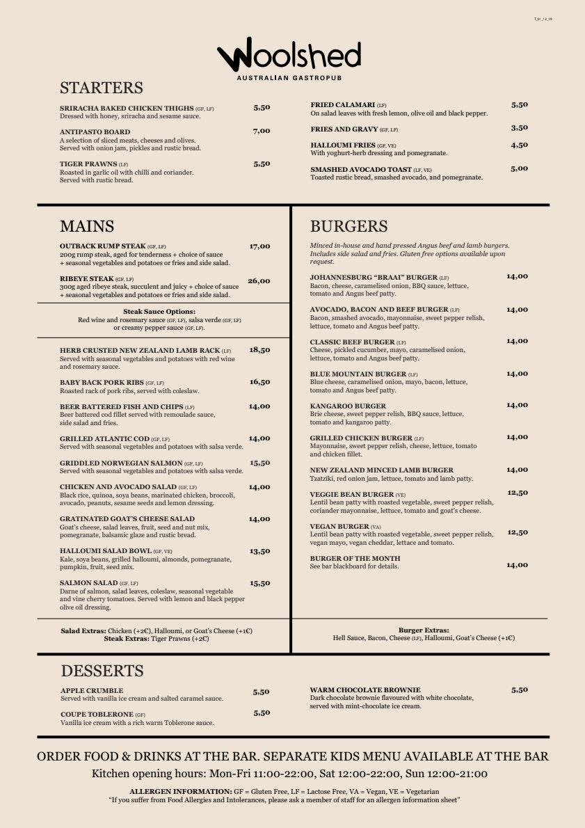 Woolshed Turku menu 1/3