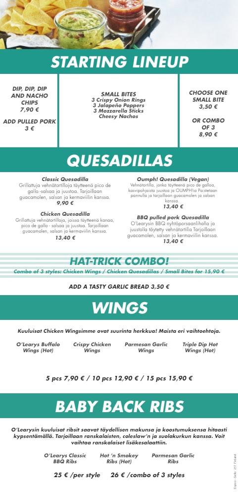 O'Learys Iso Omena menu 4/5