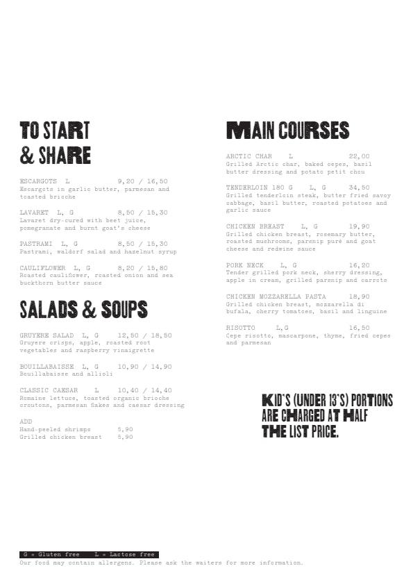 Bryggman's  menu 1/3