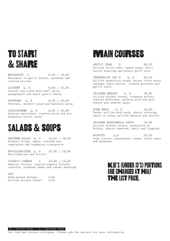 Bryggman's  menu 2/3
