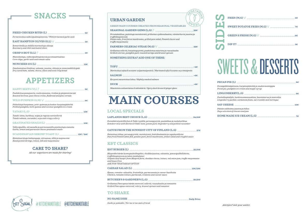 Kitchen & Table Helsinki menu 1/2