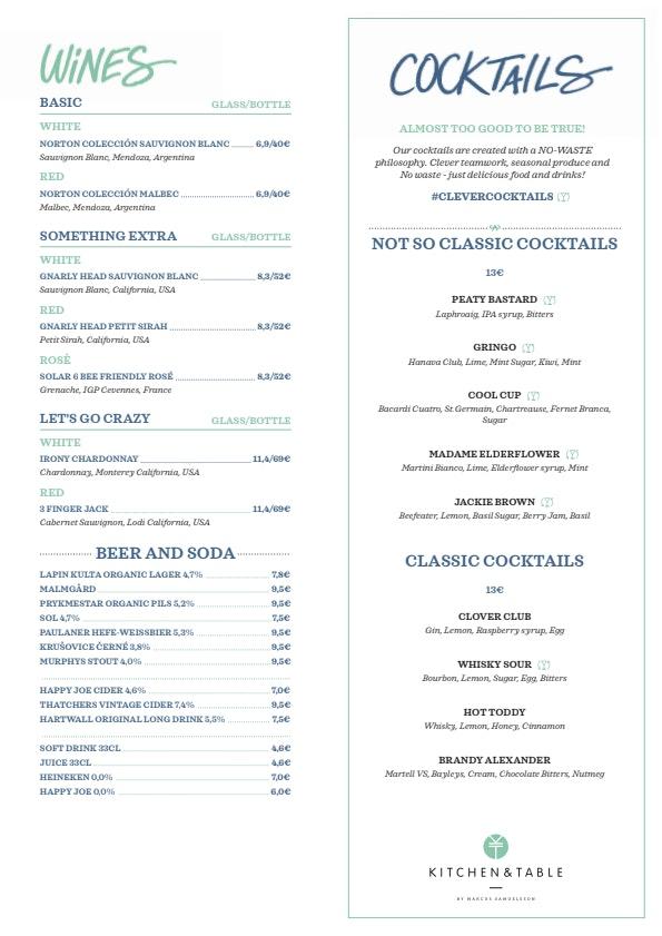 Kitchen & Table Helsinki Airport menu 1/2