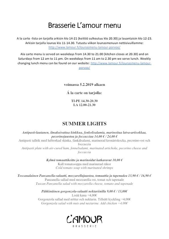 Brasserie L'amour menu 5/7