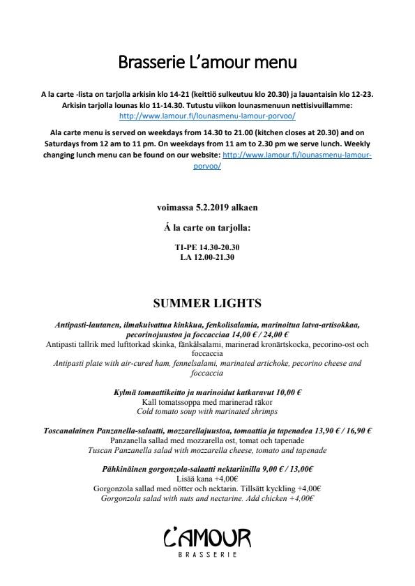 Brasserie L'amour menu 6/8