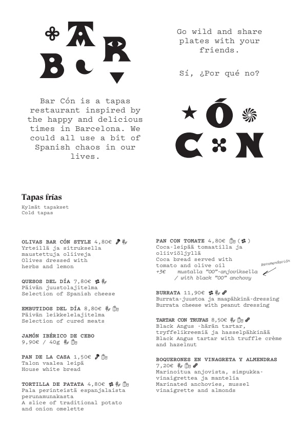 Bar Cón Kamppi menu 1/4