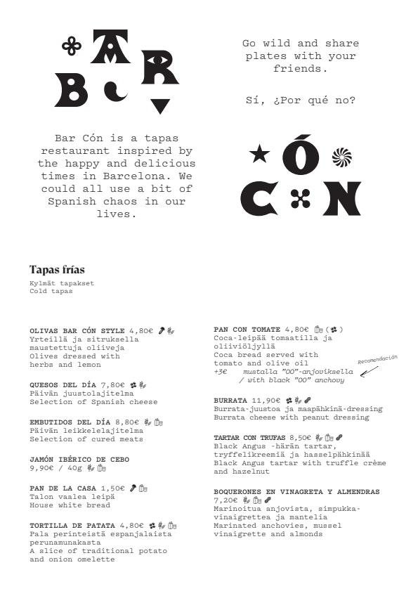 Bar Cón Kamppi menu 2/4