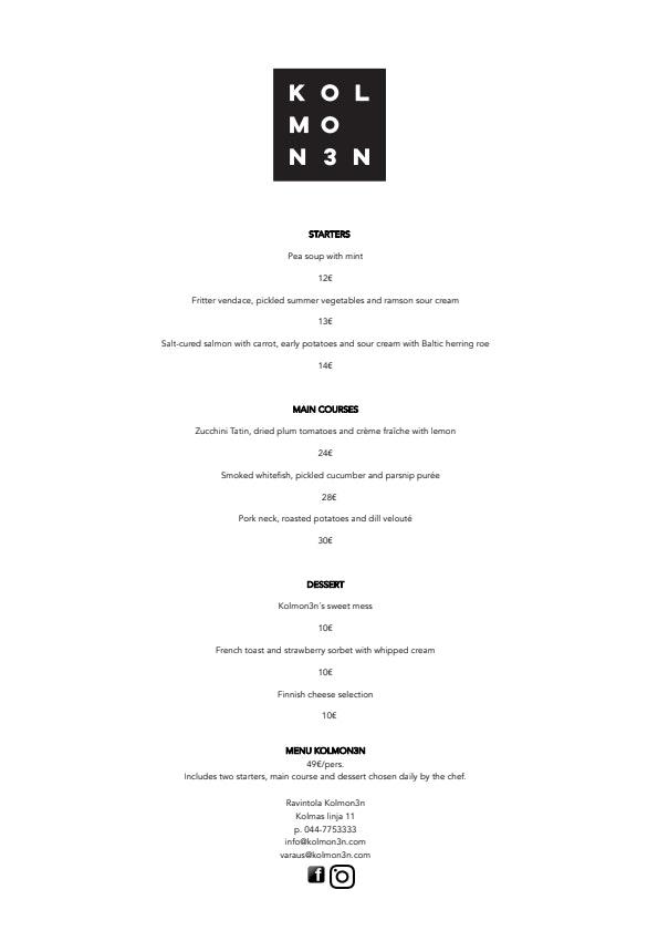 Kolmon3n menu 1/1