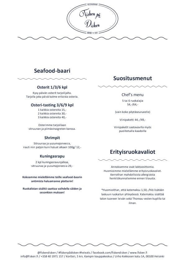 Fisken på Disken menu 1/2