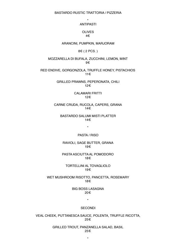 Bastardo menu 1/2
