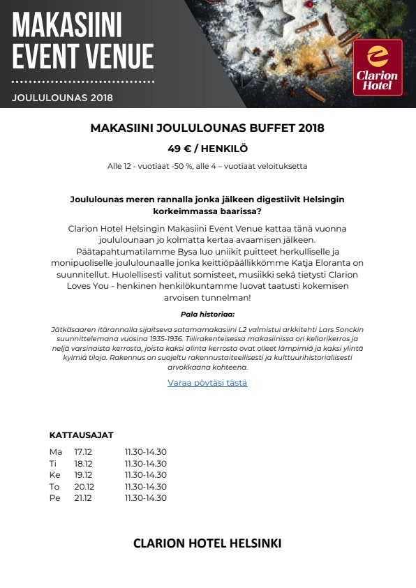 Clarion Makasiini joulubuffet menu 1/4