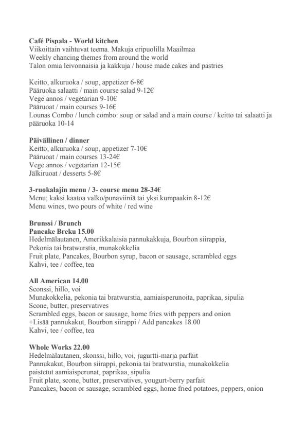 Cafe Pispala menu 1/2