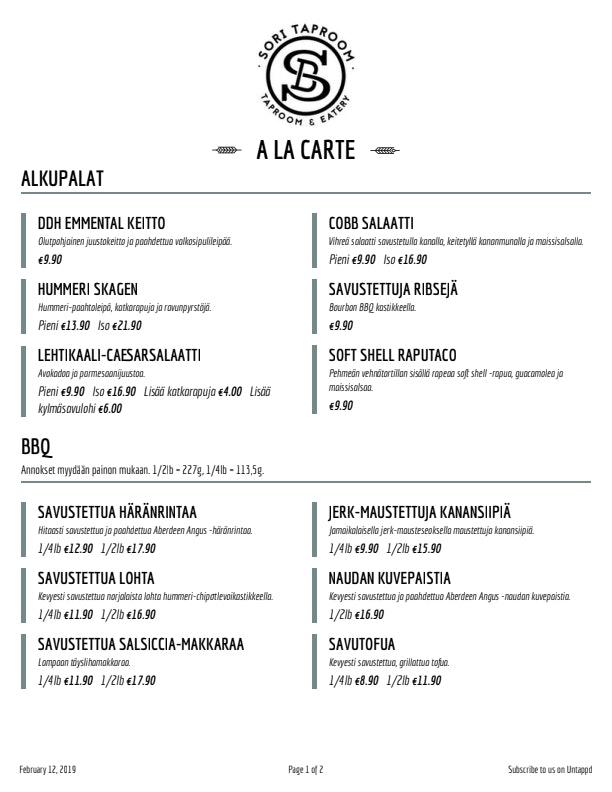 Sori Taproom Helsinki menu 1/2