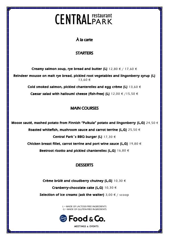 Central Park menu 1/1