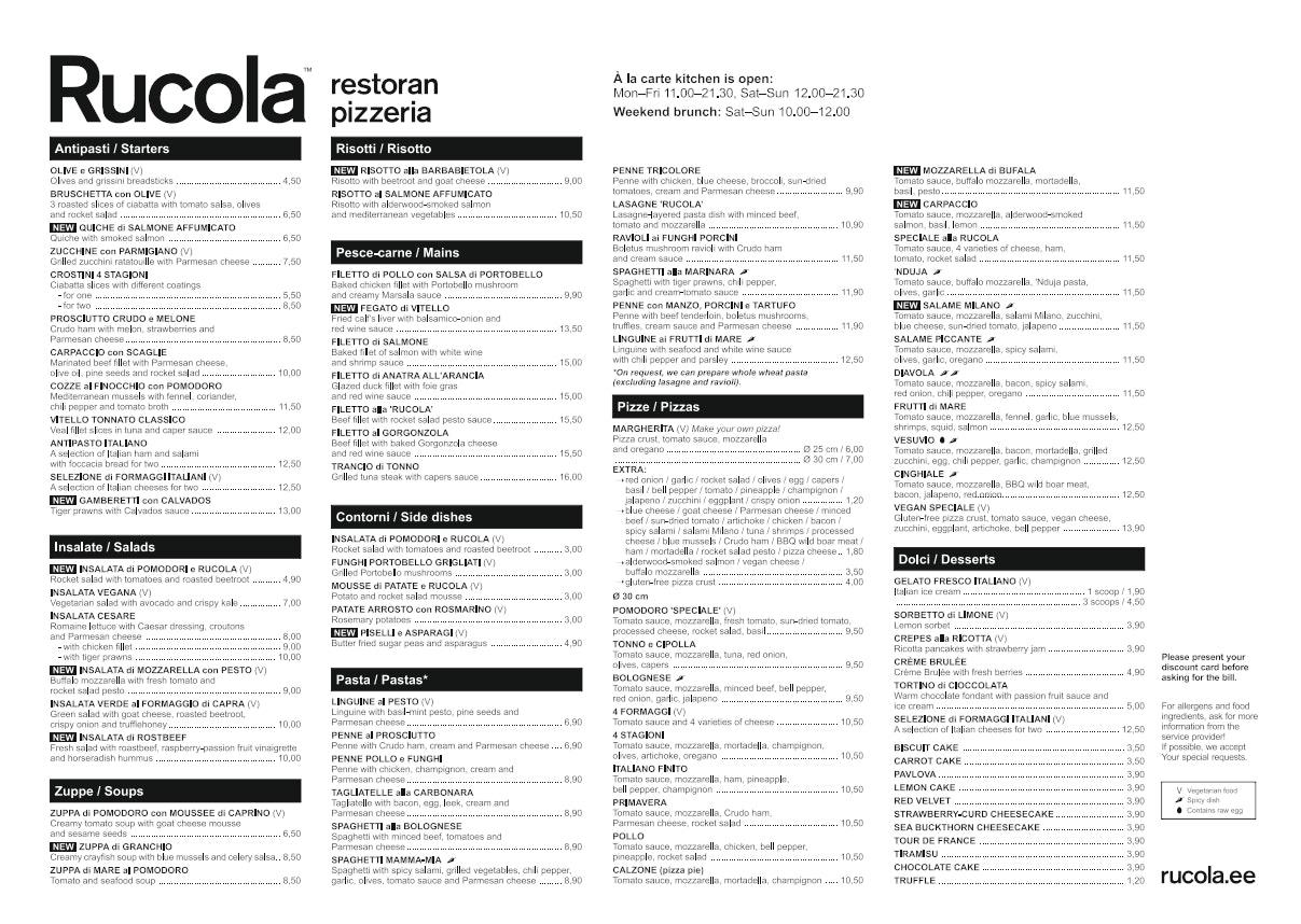 Rucola  menu 1/2