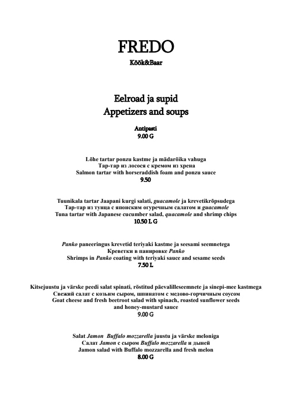 Fredo Kitchen & Bar menu 3/5